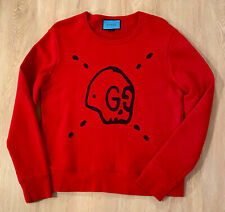 GUCCI GHOST MEN'S RED SWEATSHIRT - AUTHENTIC - SIZE MEDIUM. RETAIL $1100