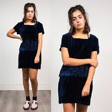VELVET DARK BLUE WOMENS VINTAGE DRESS EMBROIDERED BEADED  90'S GLAM OVERLAY 12