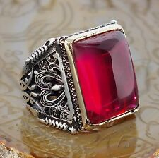 Mens Ring 925 Sterling Silver Pink Ruby Unique artisan jewelry