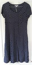 LK Bennett SHift Dress 12 Navy Blue White Polka Dot Spotty Tea Dress 40s Retro S
