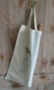 Vintage French Cream Cotton Two Handled Printed Baguette Bread Bag