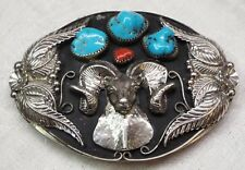 Old NATIVE AMERICAN Large STERLING SILVER & TURQUOISE Coral RAM HEAD BELT BUCKLE