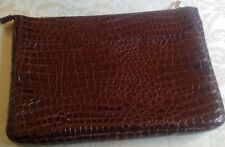 LAPTOP SLEEVE*DARK BROWN MOCK CROC PRINT*ZIPPERED*EXCELLENT CONDITION