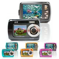 SVP Underwater 18MP Dual-LCDs Digital Camera + Videocam - Black/Blue/Orange/Pink