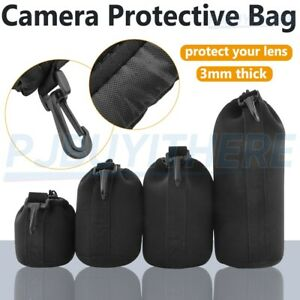 4x DSLR Camera Lens Pouch Bag Drawstring Protector Cover S M L XL for Sony Canon