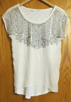 Maurices Women's Small Cream silver color bling accents SHEER short sleeve shirt
