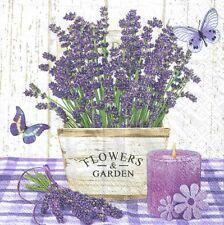 4 single paper decoupage napkins. Lavender, purple, flower garden design -241