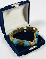 Vintage Tennis Bracelet Gold Tone Faux Turquoise Box Clasp Pretty Kitsch Costume