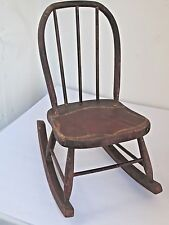 Antique American Childs Rocking Chair Original Red Paint and Detail
