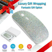 Dazzling Rechargeable 2.4G Wireless Mouse Covered with Rhinestone Crystal Gift
