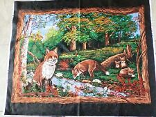 FOX fabric panel FOX LOVE QUILT TOP wallhanging Animals in the woods BTP NEW