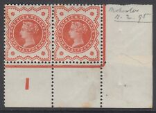 Pair of GB QV 1/2d Vermilion SG197 Control I Mint Hinged Jubilee Stamps 1887-92