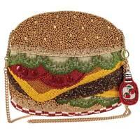 Mary Frances Hold The Pickles Hamburger Diner Burger Zip Beaded Bag Handbag NEW