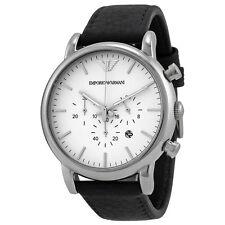 Emporio Armani Chronograph White Dial Black Leather Mens Watch AR1807