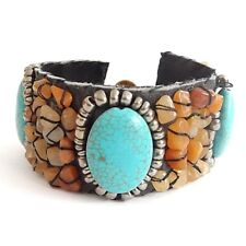 WIDE LEATHER AND ORANGE AGATE CHIP CUFF, WITH OVAL TURQUOISE HOWLITE STONE