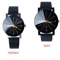 Damen/Herren Armband Uhr Quartz Dial Uhr Analog Armbanduhr Leder Round Watch