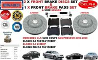 FOR MERCEDES CLK200 CLK280 CLK COUPE FRONT BRAKE DISCS SET + PADS KIT + SENSOR