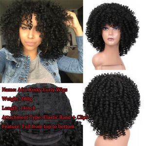Afro Kinky Curly Wig Black Wigs with Bangs Real Natural Synthetic Cosplay Party