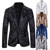 Men One Button Velvet Prom Blazer Wedding Suit Men Jacket Formal Wedding Coat
