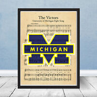 University of Michigan Logo Football Wolverines The Victors Song Art Gift Fight