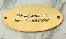 MESSINGSCHILD - Türschild Namenschild oval 135x65mm - mit Ihrer WUNSCHGRAVUR
