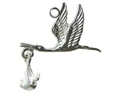 STERLING SILVER MOVING STORK WITH BABY CHARM