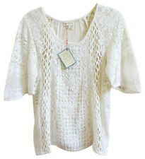 Anthropologie Web of Lace Top Petite Medium PM P6 P8 Ivory Tee Cotton Shirt NWT