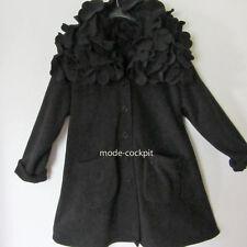BORIS INDUSTRIES Lagenlook Mantel Fleece Blätterkragen schwarz one size 46-50