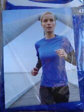 Damen Lauf-Shirt * 42 * Blau mit schwarzen Ärmeln * Langarm *Neu*OVP