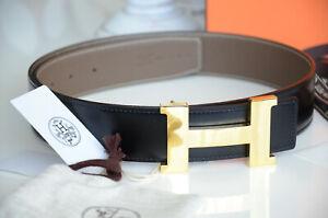 Authentic 38MM Hermes Reversible Belt kit GRAY / BLACK GOLD POLISHED Buckle 90