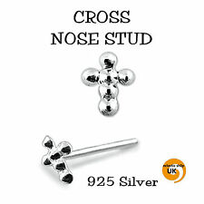 1 x Nose Stud Cross Pure Sterling Silver. 'L' Bendable Stunning 20g 0.4mm x 9mm