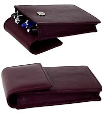 Genuine leather fountain pen case for 4 super jumbo pens - bordeaux color