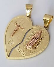 Big 14k real solid Yellow Gold 2 piece Te Amo Jesus Split Heart Pendant Charm