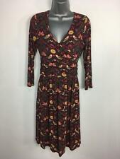 WOMENS LAURA ASHLEY PURPLE MIX FLORAL BIRD PRINT FIT & FLARE WRAP DRESS UK 8