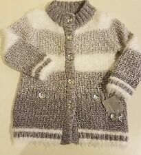 Tahari Baby Girls Long Sweater 24M Shimmery Silver White Fuzzy