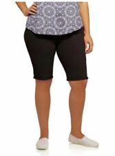 Faded Glory Women's Plus Size Black Bermuda Walking Stretch Shorts Size 4X