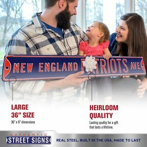 """NFL Street Sign New England Patriots Ave Metal Sign, 3 pounds Dimensions 6"""" x 36"""