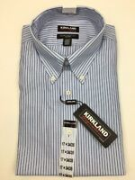 Mens Kirkland Signature Dress Shirt Traditional Fit Button Collar Striped Blue