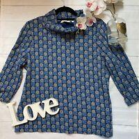 Sea Salt Size 16 blue floral cowl neck sunstream top casual loose fit smock VGC