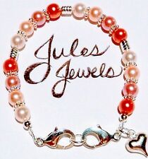 "Crystal & Glass Pearls ""Shades Of Pink"" Medical Alert ID Bracelet So Pretty!"
