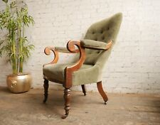 Antique Victorian Mahogany Library Reading Chair Country House Slipper Armchair