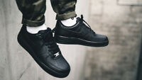 NEW Nike Air Force 1 Mens Trainers All Black Shoes Leather Low Tops Size 5-17 UK