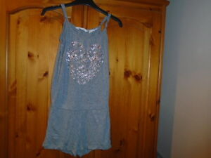 Cute grey shorts playsuit, silver beaded heart design, H&M, 9-10 years