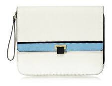 Juicy Couture White Saffiano Lux Leather Flap Zip Tablet iPad Case Sleeve