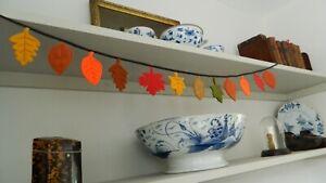 Handmade Felt Autumn / Fall Leaves Bunting 12 leaves