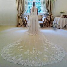 220v Bridal Cathedral 3m Embroidered Lace Mantilla Ivory Wedding Veil