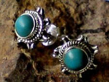 STERLING SILVER 10mm ROUND STUD EARRINGS with TURQUOISE CABOCHON STONES £14.50