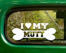 2 I Love My Mutt Dog Mixed Breed Stickers Decal Car Bumper Truck Laptop Window