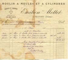 MEYMANS facture 1913 émilien MOTTET moulin à meules et à cylindres farines