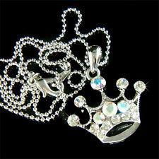 NEW w Swarovski Crystal ~CLEAR Princess CROWN Charm Pendant chain Girls Necklace
